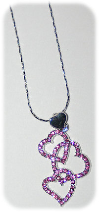 .3 Pink Rhinestone Heart Necklace