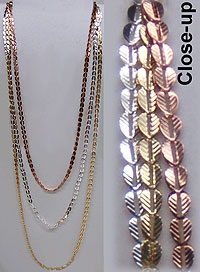 Necklace Triple Strand Feather Links