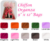 9 x 12 Organza Sheer Bags Solid Color