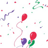 Green Red and Purple Balloons and Confetti Cello Roll 24 x 50