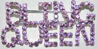 Pin Pink Rhinestone Bling Queen