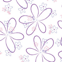 Cool Retro Flowers Cellophane Roll 24 x 100