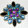Pin Brooch with Blue and Purple Stones
