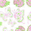 Butterflies and Daisies in Pink and Green Cello Roll 24 x 50