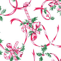 Candy Canes and Ribbons Cello Roll 24 x 50
