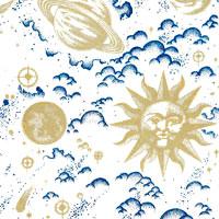 Celestial Designs in Deep Blue Cello Roll 24 x 50