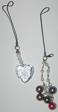 Cell Phone Charm - Heart & Beads Set