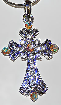 Silver and Rhinestone Cross Necklace