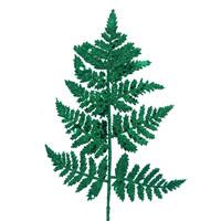 Glitter Leather Fern Leaf Pick Green