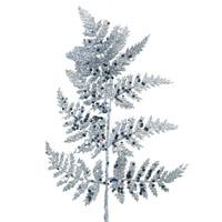 Glitter Leather Fern Leaf Pick Silver
