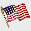 Pin American Flag with Rhinestone Stars