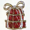 Pin 3 Red Gifts with Rhinestone Ribbon