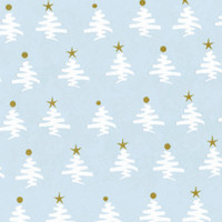Gold White Christmas Trees Cellophane Roll 24 x 100