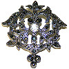 Pin Pewter and Black Stones Brooch