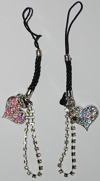 Heart with Rhinestones Cell Phone Charm