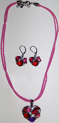 Heart with Acrylic Stones Necklace and Earrings Set