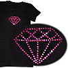 Black tshirt with diamond design in pink jewels