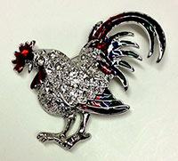 Crystal Rooster Pin