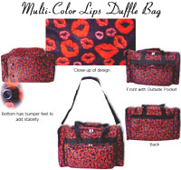 Multi-Color Lip Duffle Bag