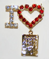 I Love with Bingo Card Charm Pin