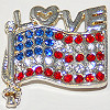 Pin Rhinestone Love Flag