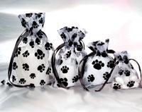 6 x 9 Organza Sheer Bags Paw Prints