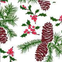 Pine Cones and Holly Cello Roll 24 x 50