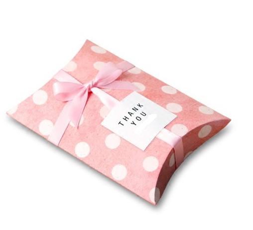 Pink polka dot pillow boxes