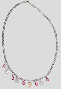 Pink Beads and Pearlized Shells Necklace