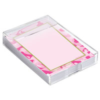 Pink Camouflage Notes in Acrylic Caddy