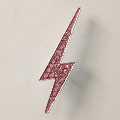 Pink Rhinestone Lightning Bolt Pin