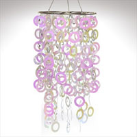 Round PVC Circle Chandelier with Crystals Fuchsia