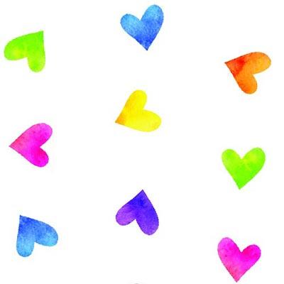 Rainbow Hearts 4 x 9