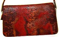 Red Faux Reptile Skin Purse