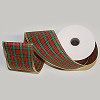 Ho Ho Holiday Plaid Ribbon with Gold Wired Trim 2.5 inch