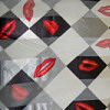 Black and White Checkered Red Lip Scarf