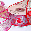 Glitter Hearts and Dots Wired Organza Ribbon
