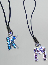 Rhinestone Initial Cell Phone Charms