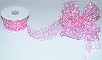 "Pink Chiffon Ribbon with White Hearts 1.5"" wide"