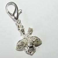 Bee Dangle Charm Silver with Rhinestones