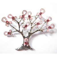 Tree Silver with Pink Ribbons