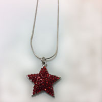 Sparkling Red Star Necklace