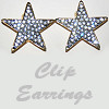 Earrings Gold Stars with Solid Rhinestones Clip On