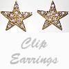 Earrings Unrefined Gold Star Rhinestone Clip On