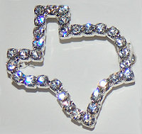 Pin Texas State Shaped Rhinestone