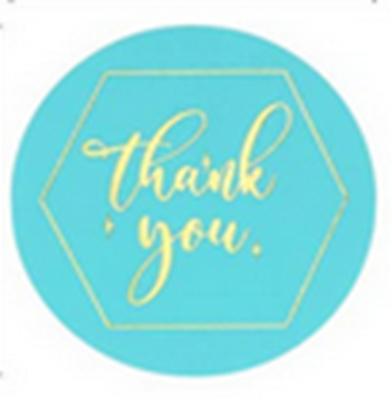 Stickers - Thank You Aqua Gold