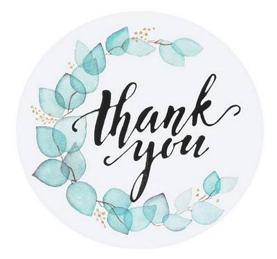Stickers - Thank You Aqua Wreath