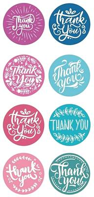 Thank you stickers Assorted Pastels