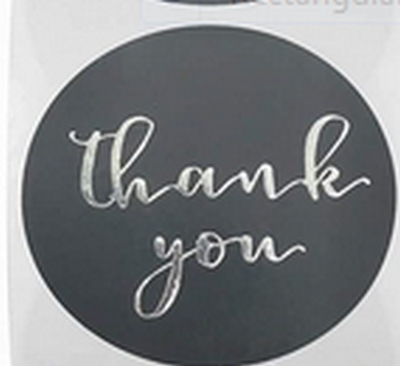 Stickers - Thank You, Black & Silver