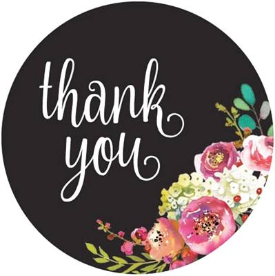 Thanks you Black with Lovely flowers stickers